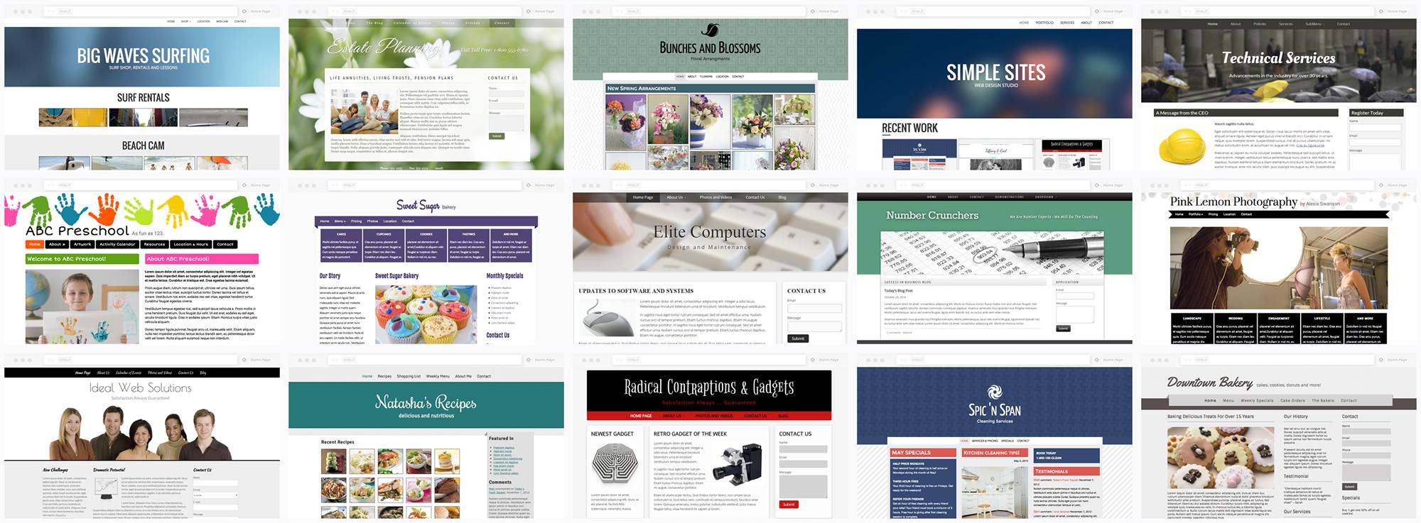 Pre-built Site Builder Themes