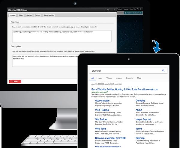 Bravenet Site Builder - Search Engine Optimization