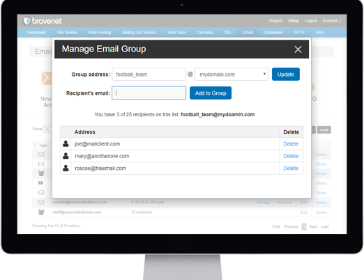 Bravenet Email Hosting Features Aliasing and Group Email