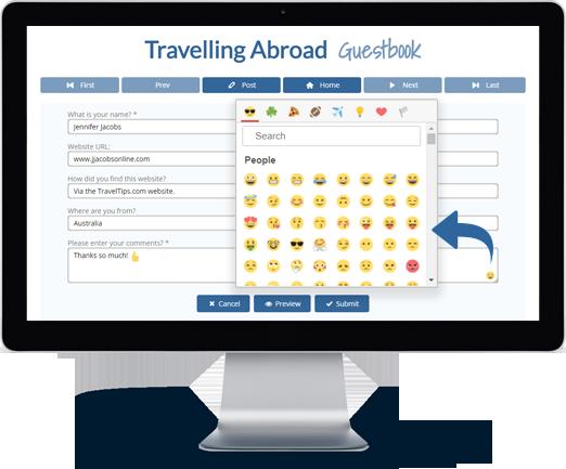 Bravenet Guestbook Features Lots of Fun Emojis