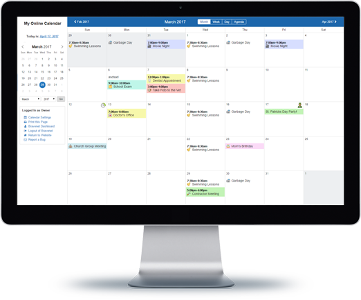 Bravenet Public and Private Online Calendars