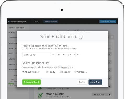 Bravenet Email List has Scheduled Sends, Subscriber Tagging and More