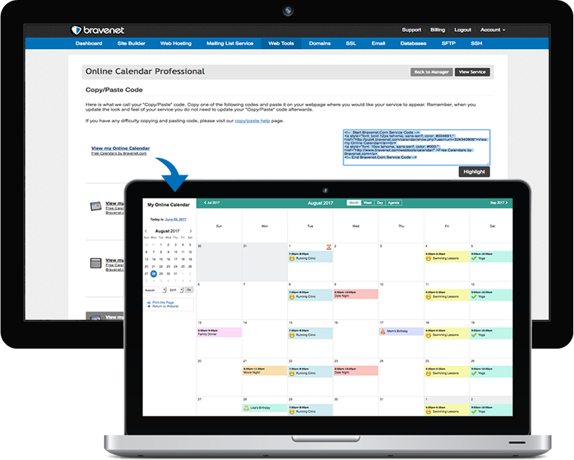 Easy to Install, Copy and Paste Bravenet Online Calendars into your Website