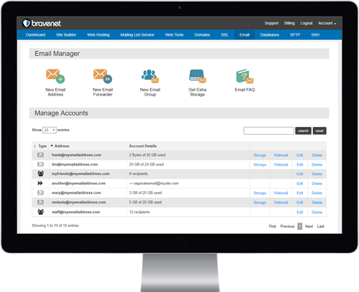 Simple Email Management with Bravenet Web Hosting