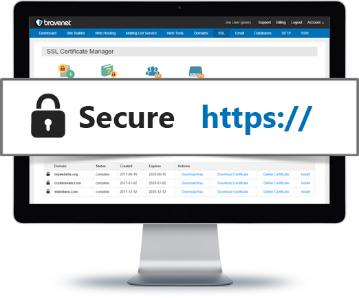 Bravenet Web Hosting Allows HTTPS SSL Secure Hosting